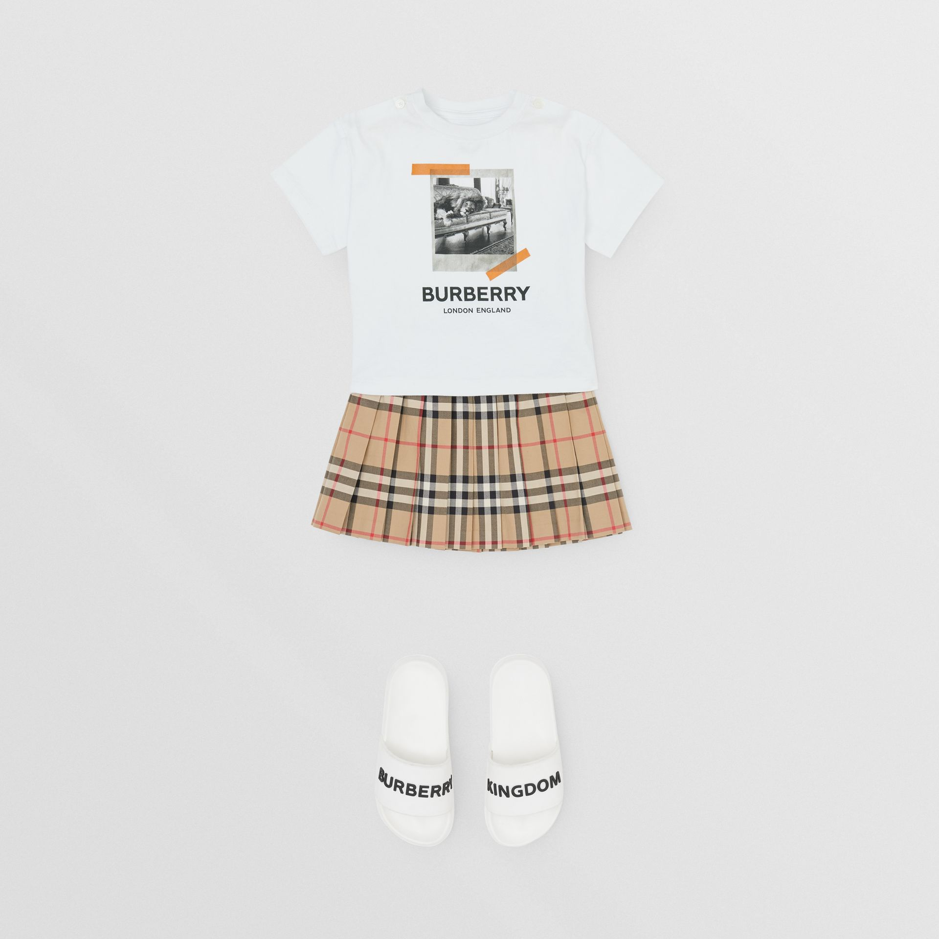 Vintage Polaroid Print Cotton T-shirt in White - Children | Burberry United Kingdom - gallery image 2