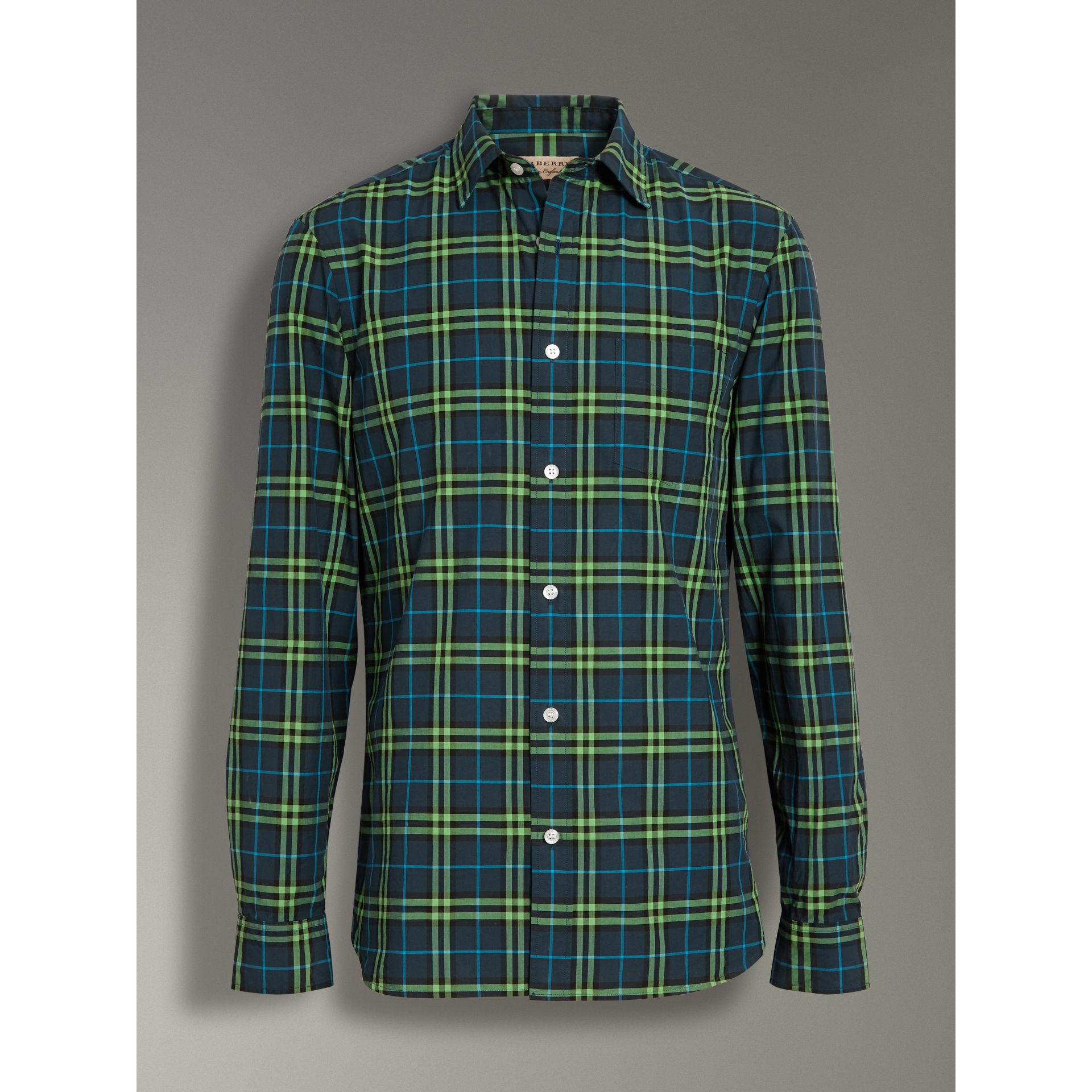 Check Cotton Shirt in Dark Pewter Blue - Men | Burberry United Kingdom - gallery image 3