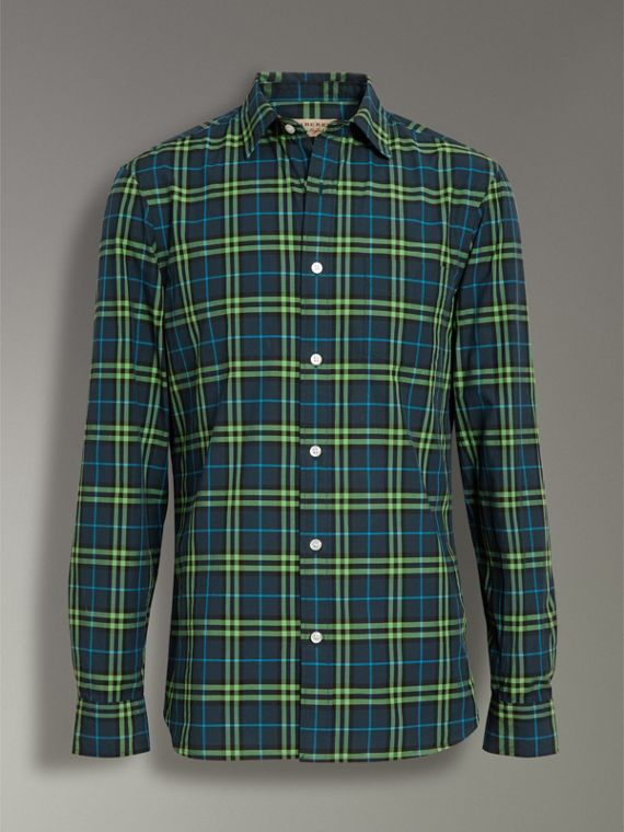 Check Cotton Shirt in Dark Pewter Blue - Men | Burberry United Kingdom - cell image 3