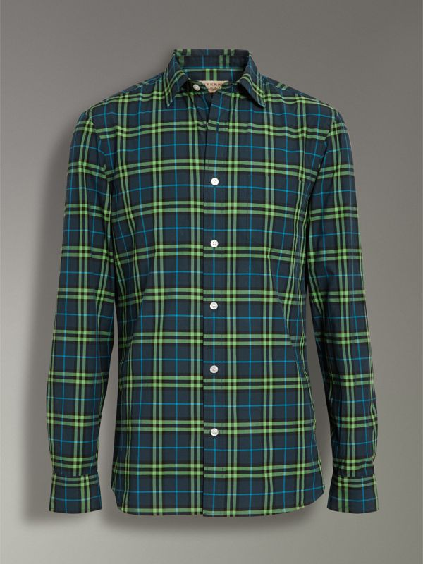 Check Cotton Shirt in Dark Pewter Blue - Men | Burberry - cell image 3