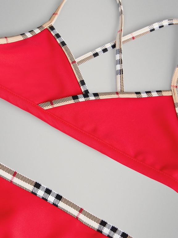 Check Trim Bikini in Poppy Red | Burberry - cell image 1