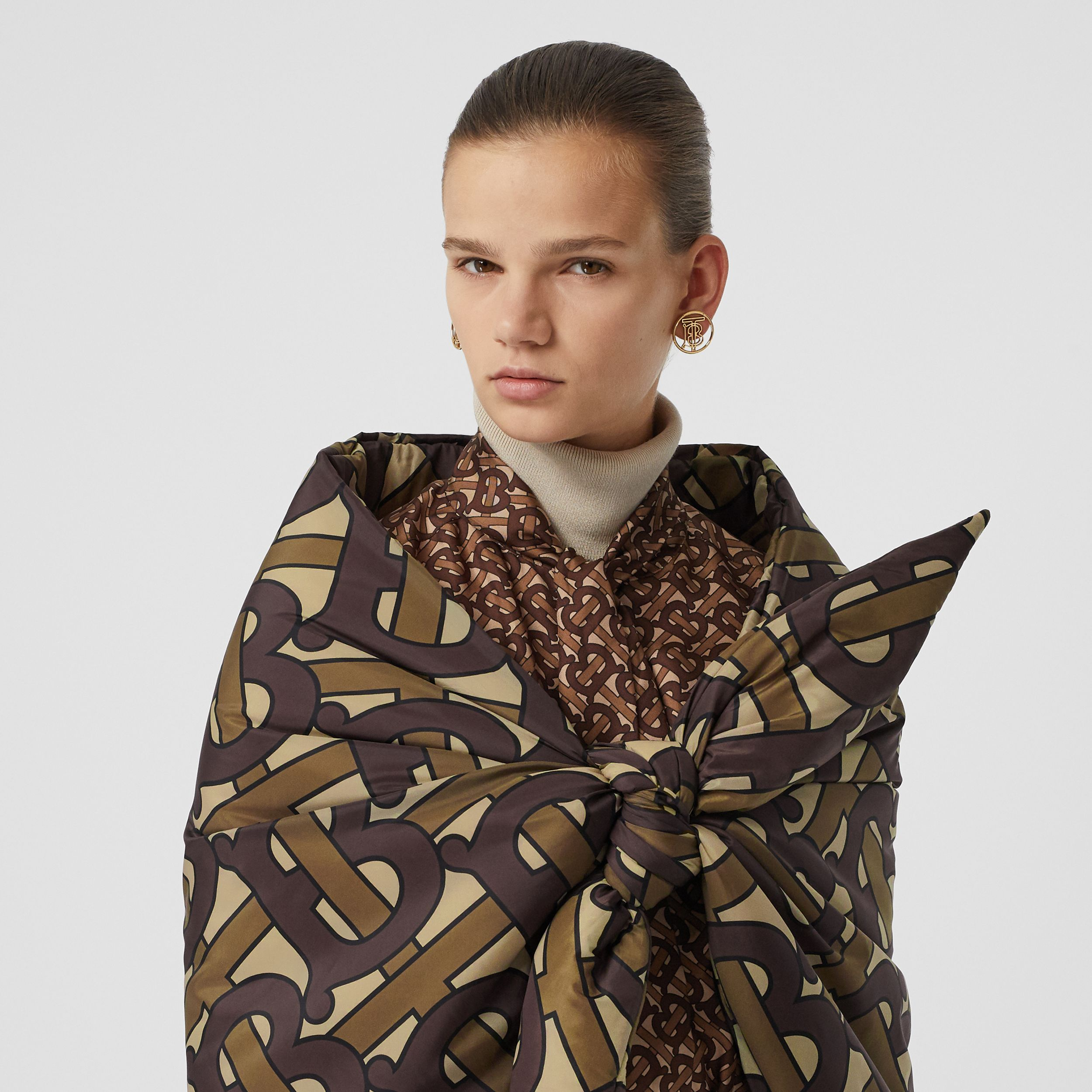 Monogram Print Puffer Bandana in Bridle Brown - Women | Burberry - 1