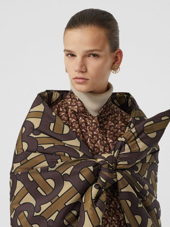 Monogram Print Puffer Bandana in Bridle Brown