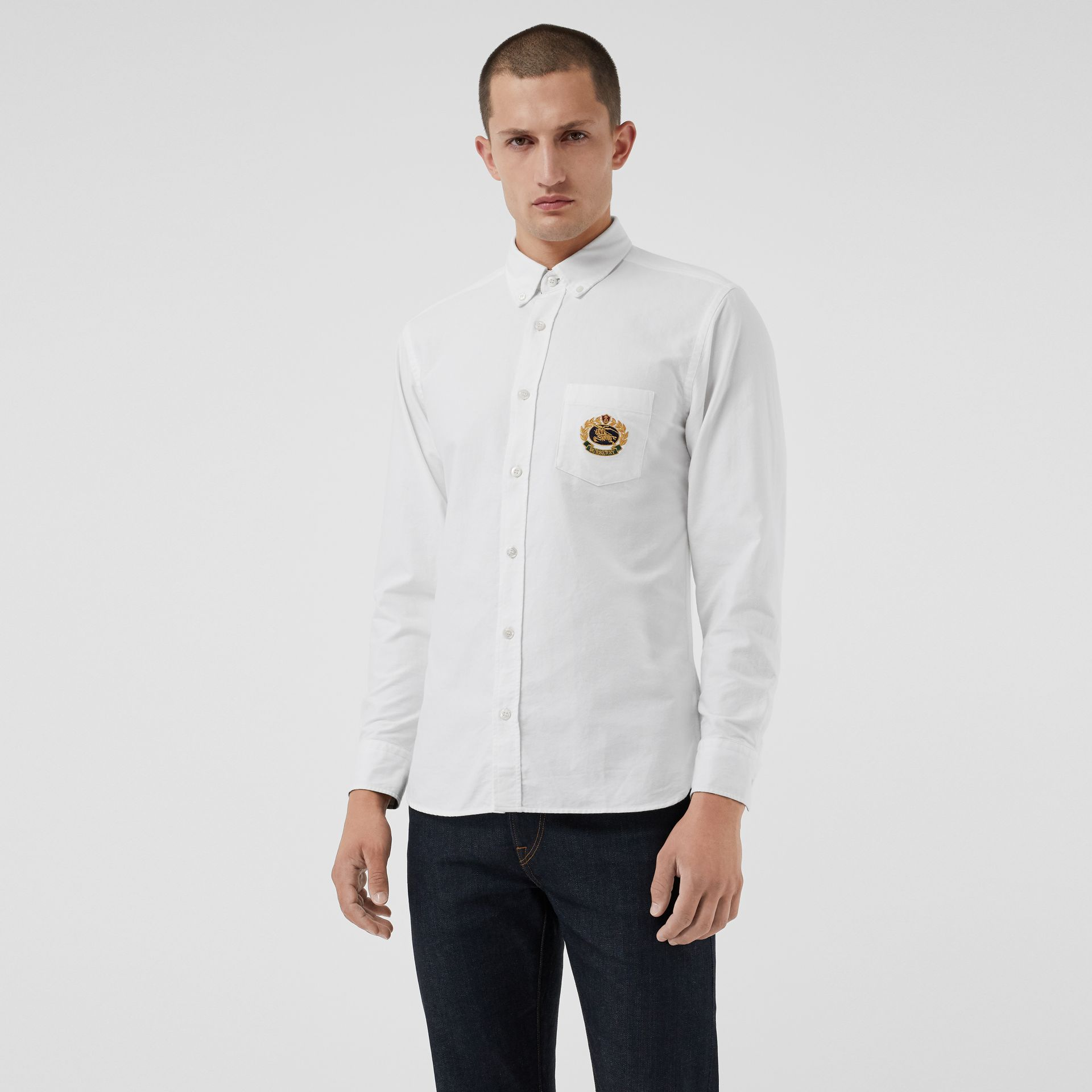 Embroidered Archive Logo Cotton Oxford Shirt in White - Men | Burberry Canada - gallery image 0