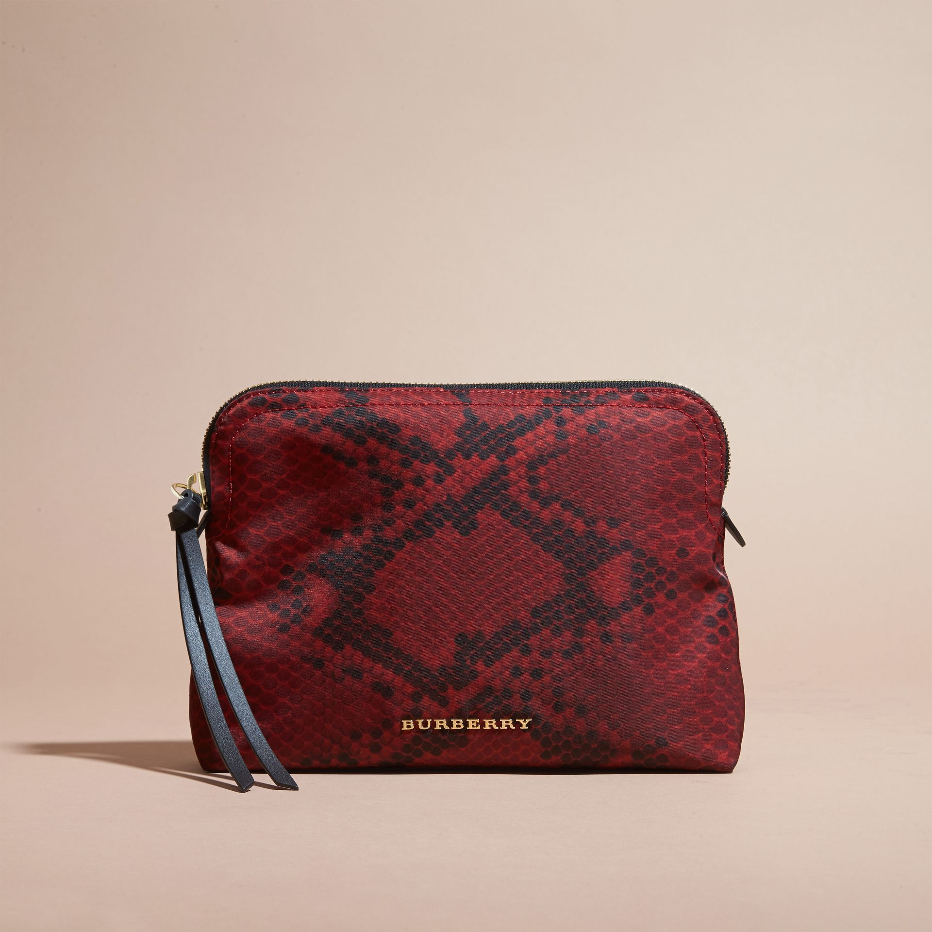 Burgundy red Large Zip-top Python-print Technical Nylon Pouch Burgundy Red - gallery image 7