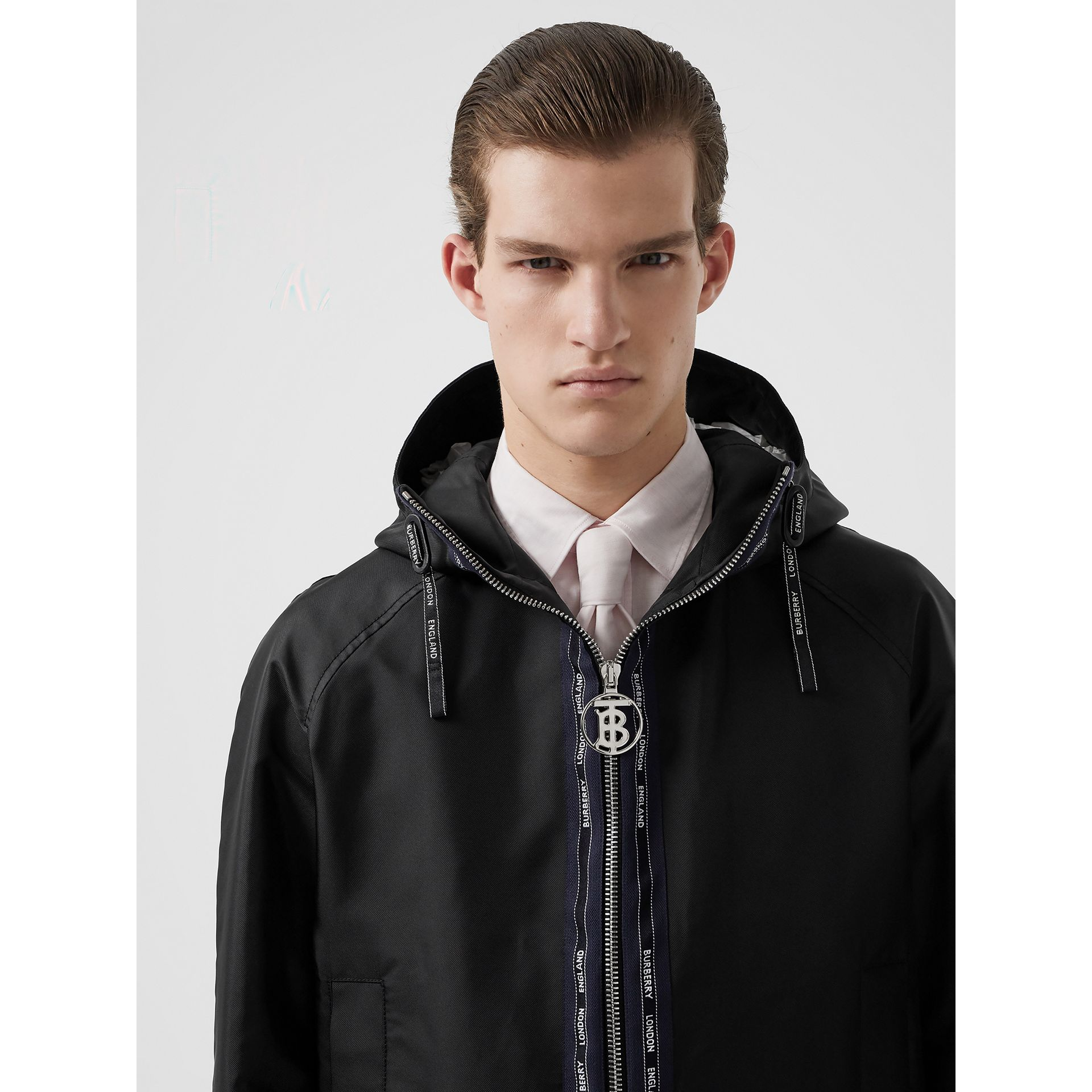 Logo Detail Nylon Hooded Jacket in Black | Burberry Australia - gallery image 1