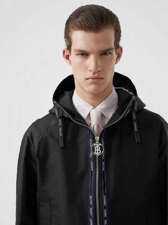Logo Detail Nylon Hooded Jacket in Black | Burberry - cell image 1