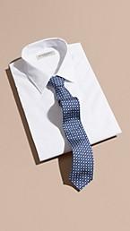 Slim Cut Geometric Print Silk Tie