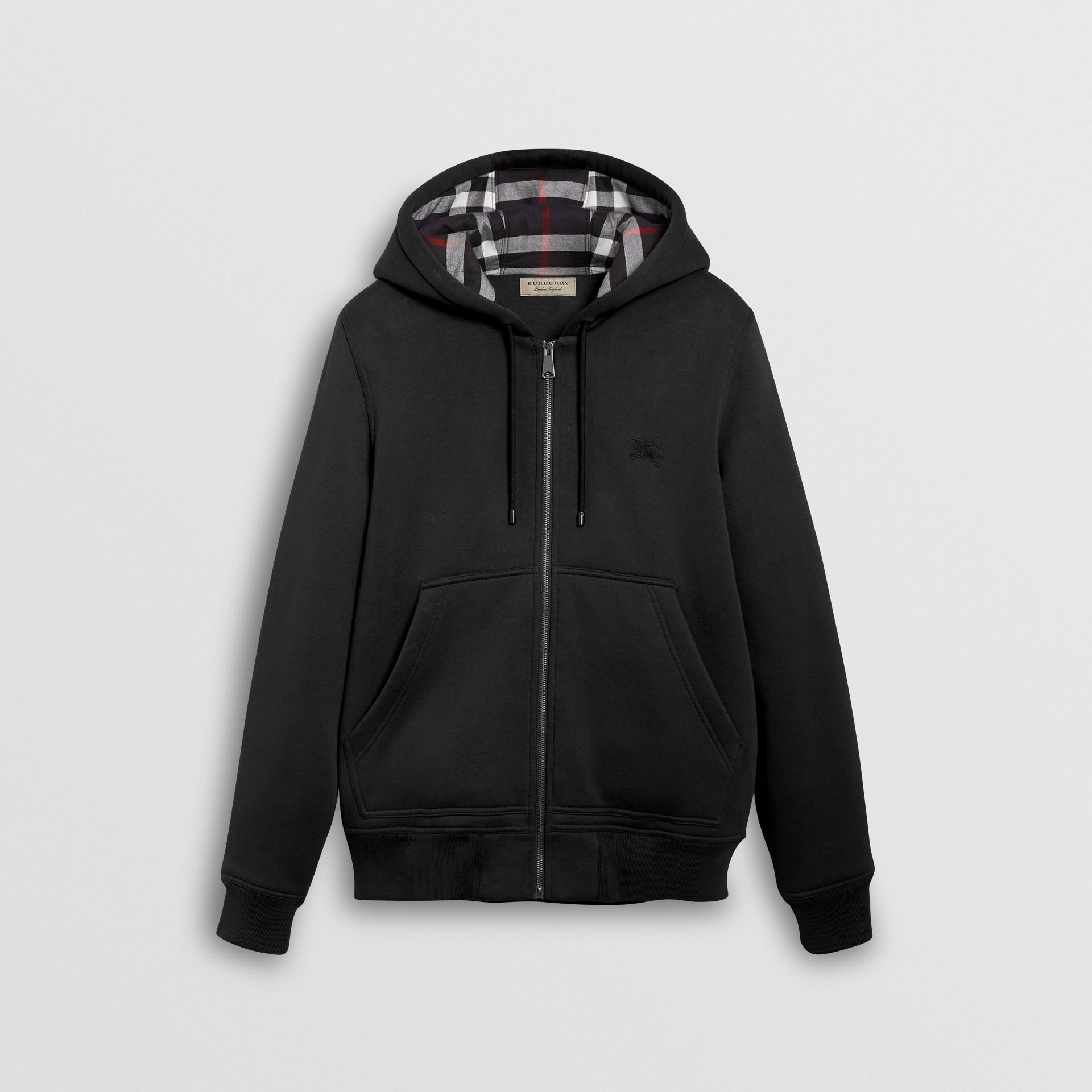 Check Detail Jersey Hooded Top in Black - Men | Burberry United Kingdom - gallery image 3