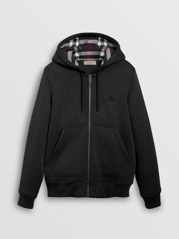 Check Detail Jersey Hooded Top in Black - Men | Burberry United Kingdom - cell image 3