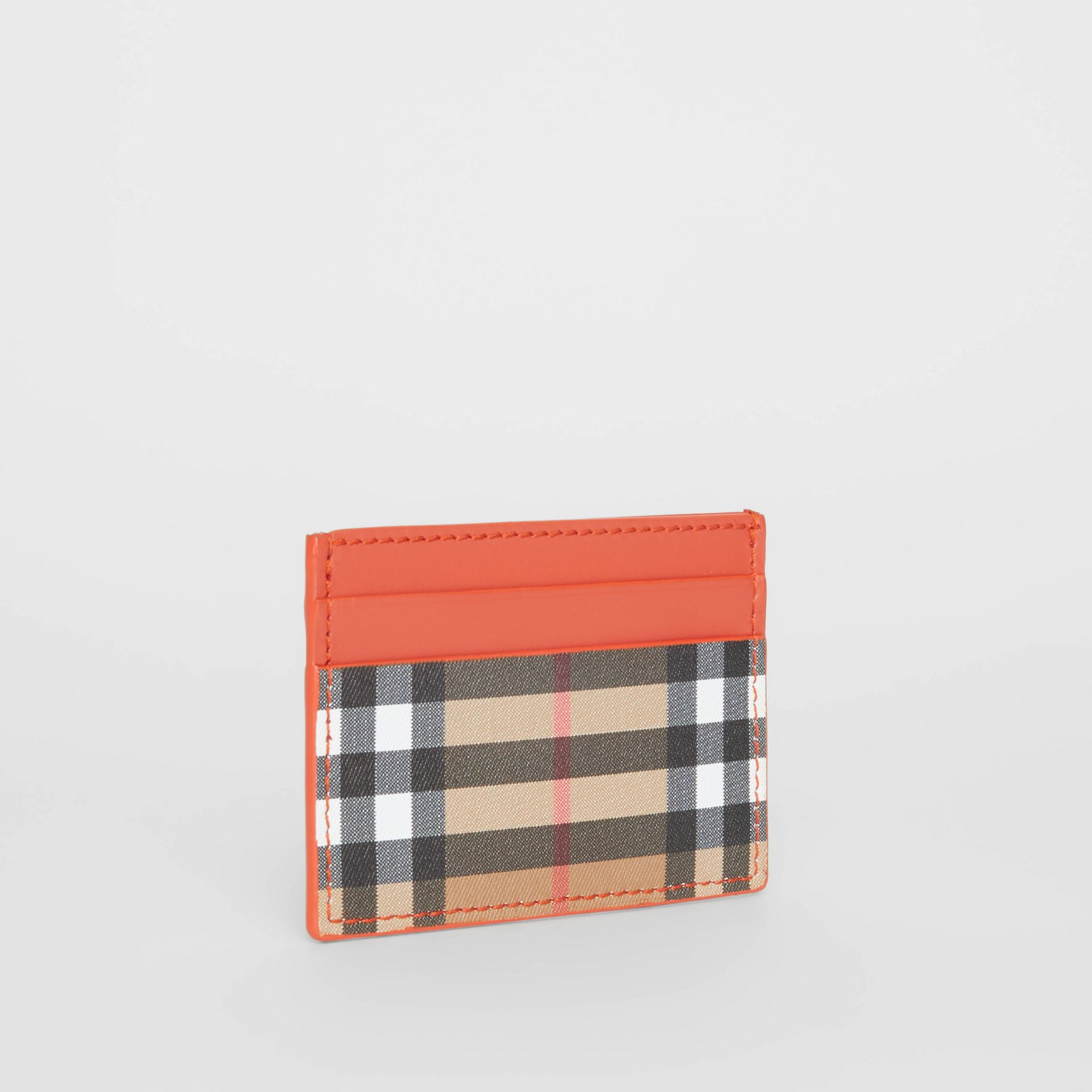 Vintage Check and Leather Card Case in Clementine - Women | Burberry Singapore - gallery image 3