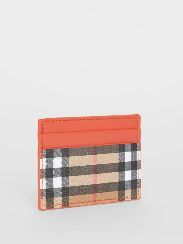 Vintage Check and Leather Card Case in Clementine - Women | Burberry Canada - cell image 3