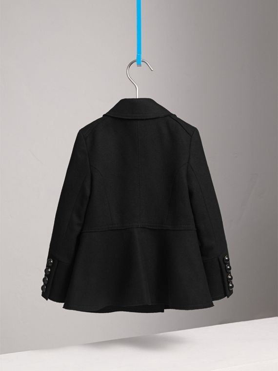 Wool Blend Peplum Jacket in Black - Girl | Burberry Australia - cell image 3