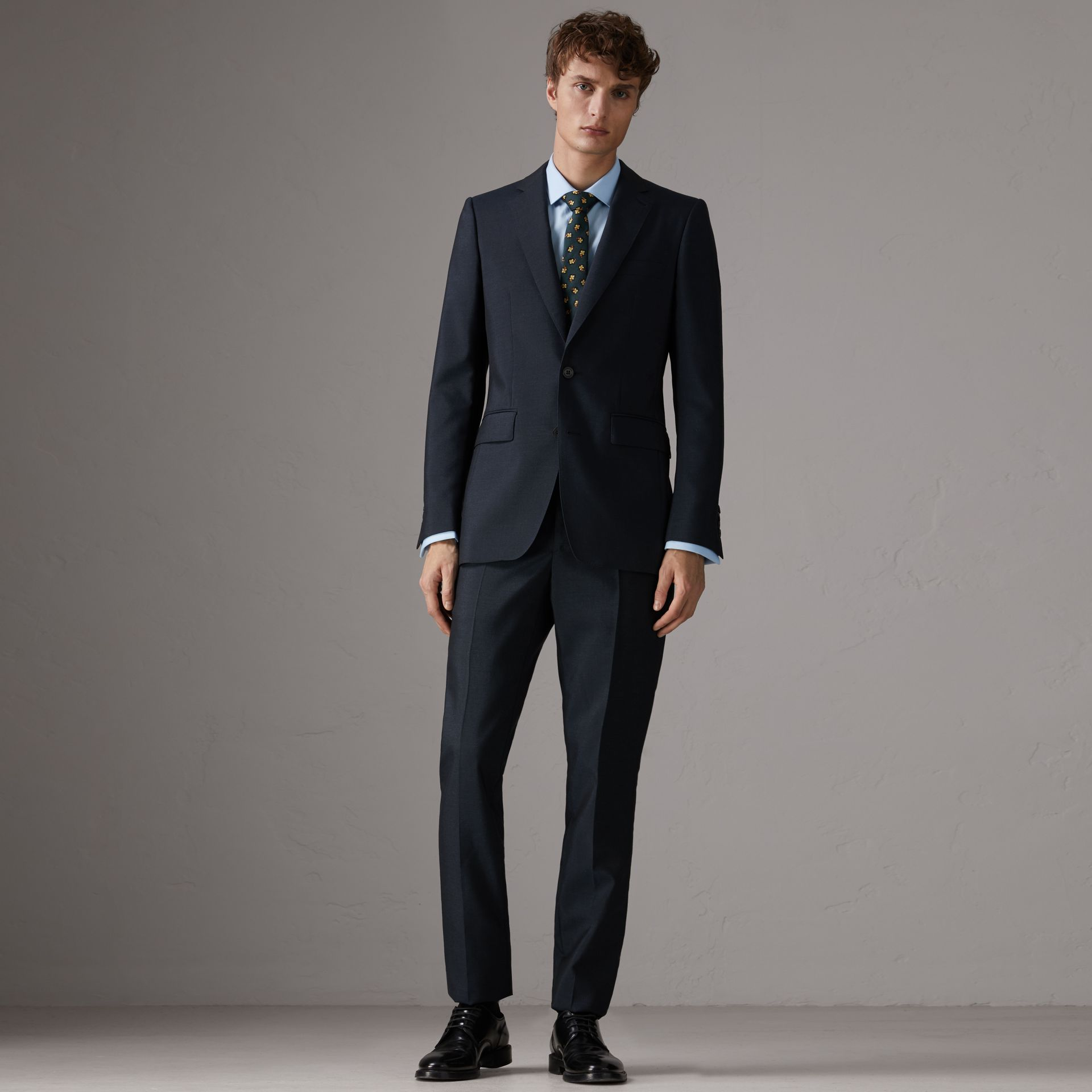 Slim Fit Wool Half-canvas Tuxedo in Navy - Men | Burberry United Kingdom - gallery image 1
