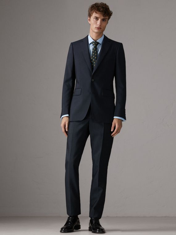 Slim Fit Wool Half-canvas Tuxedo in Navy