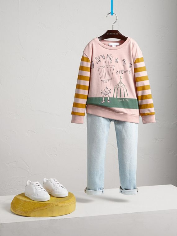 London Icons Print Cotton Long-sleeved Top in Chalk Pink