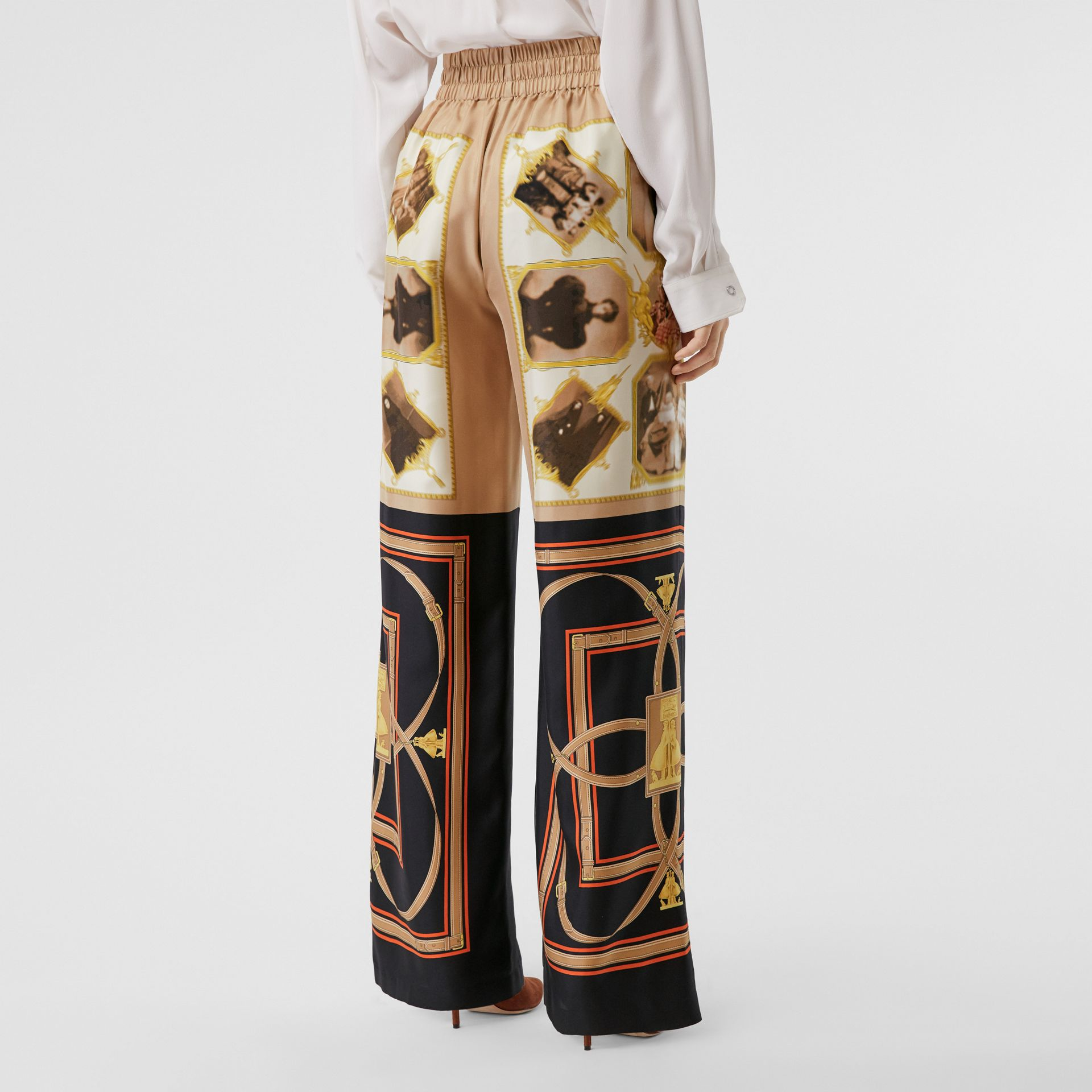 Montage Print Silk Twill Wide-leg Trousers in Brown - Women | Burberry - gallery image 2