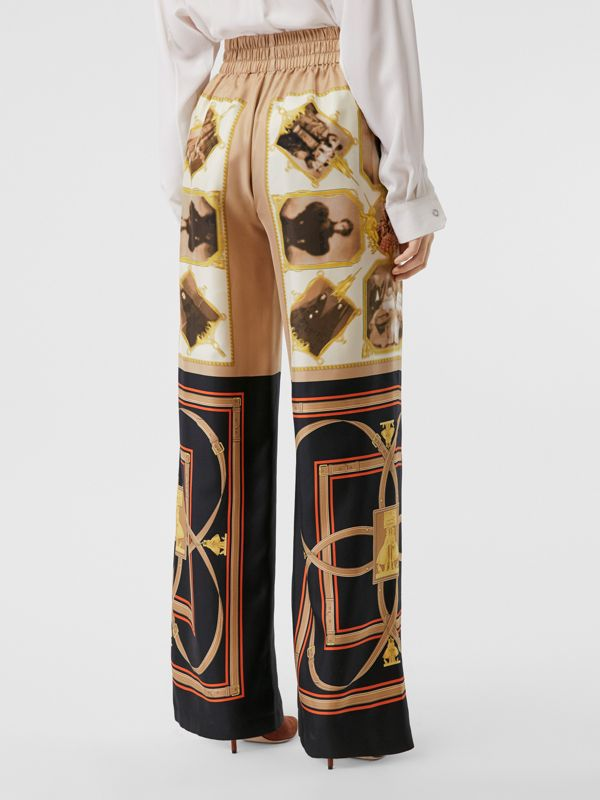 Montage Print Silk Twill Wide-leg Trousers in Brown - Women | Burberry - cell image 2