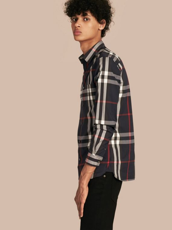 Check Stretch Cotton Shirt in Navy - Men | Burberry Canada