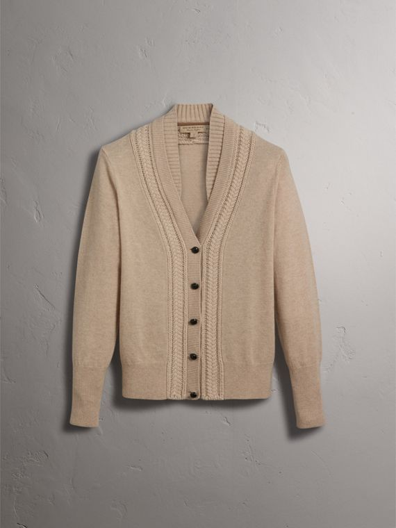 Cable Knit Detail Cashmere Cardigan in Taupe Melange - Women | Burberry - cell image 3