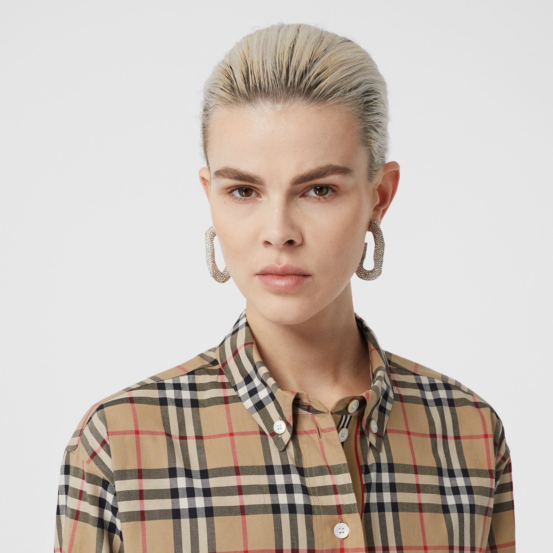 Vintage Check Stretch Cotton Oversized Shirt in Archive Beige - Women | Burberry - gallery image 1