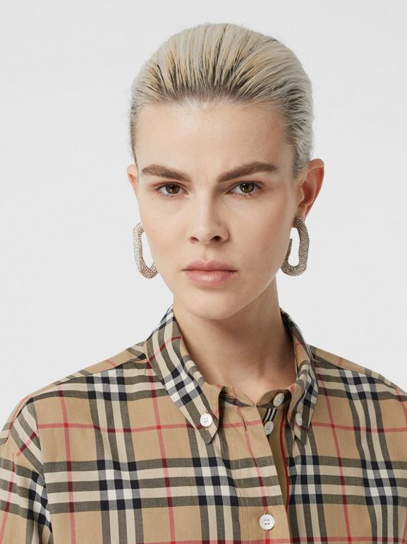 Vintage Check Stretch Cotton Oversized Shirt in Archive Beige - Women | Burberry United States - cell image 1