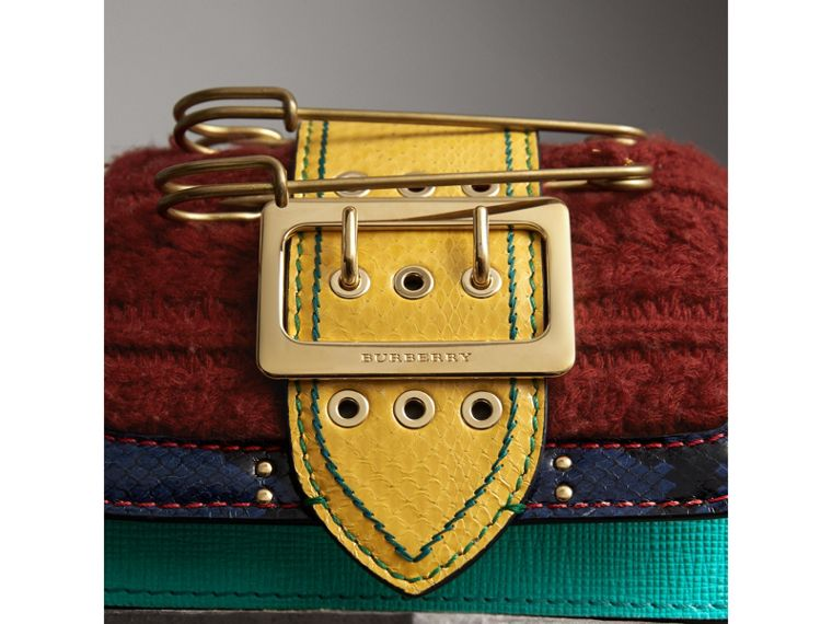 The Patchwork in Exotics and Knitted Wool Cashmere in Emerald Green/berry Red - Women | Burberry - cell image 1