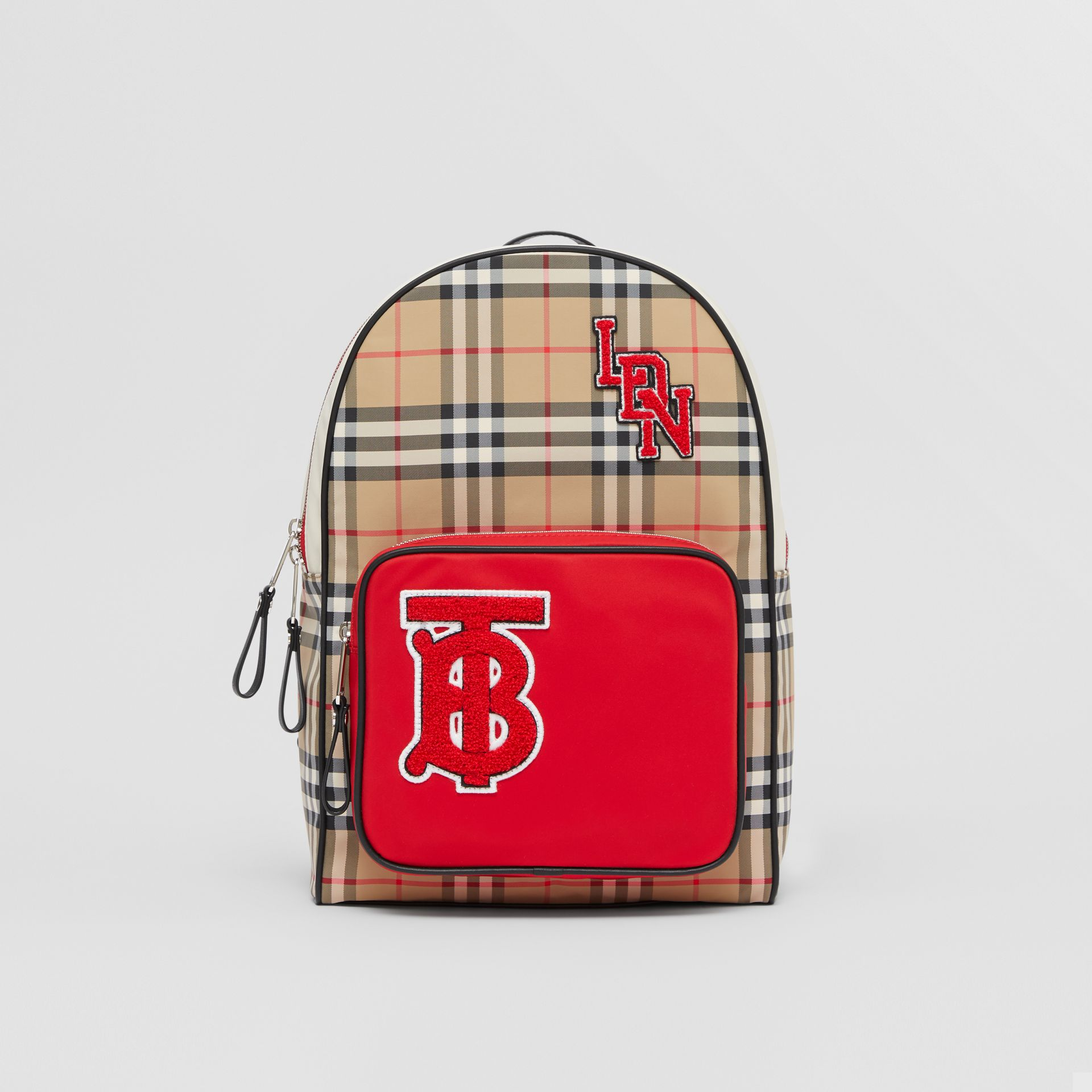 Monogram Motif Vintage Check ECONYL® Backpack in Archive Beige - Children | Burberry - gallery image 0