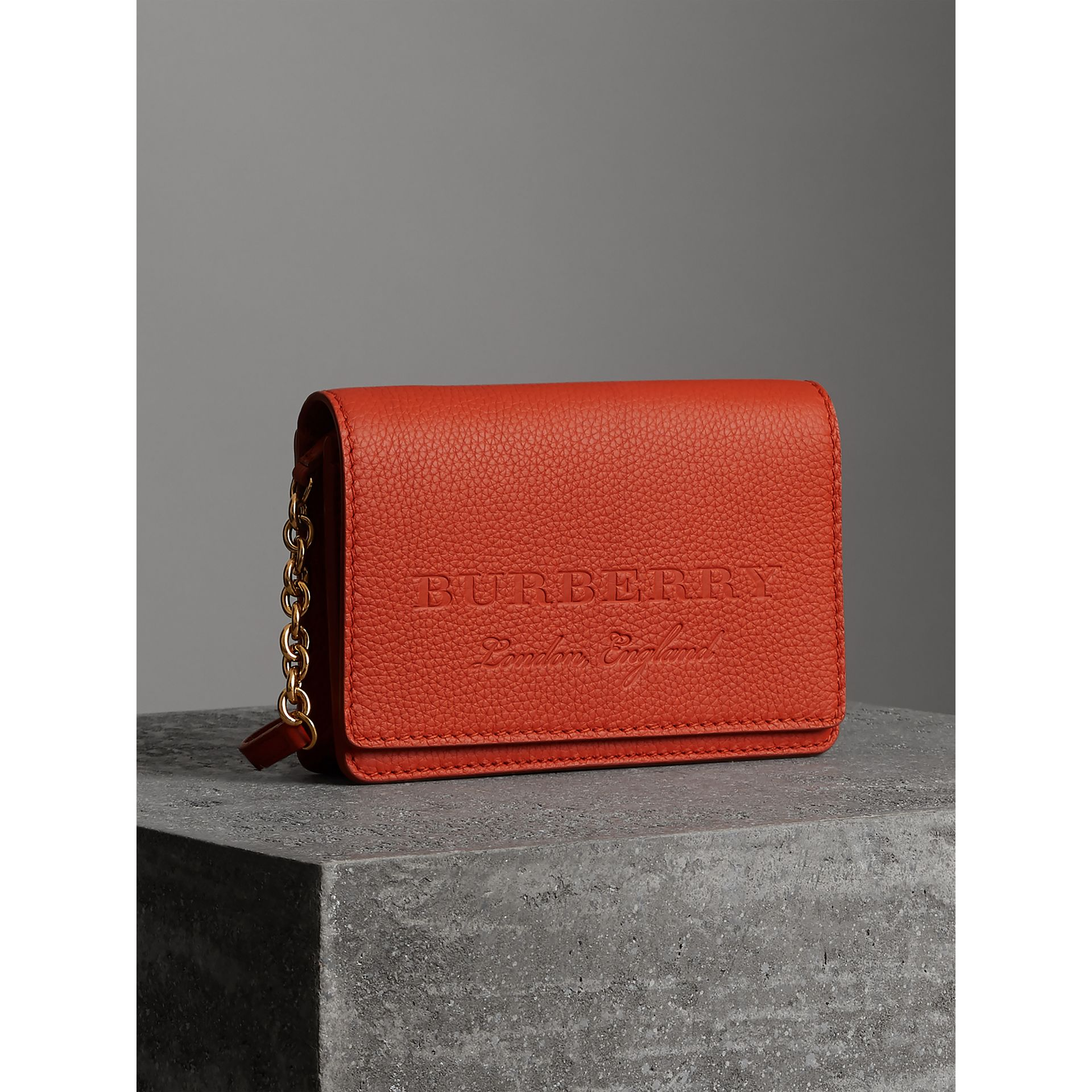 Embossed Leather Wallet with Detachable Strap in Dark Clementine - Women | Burberry - gallery image 4
