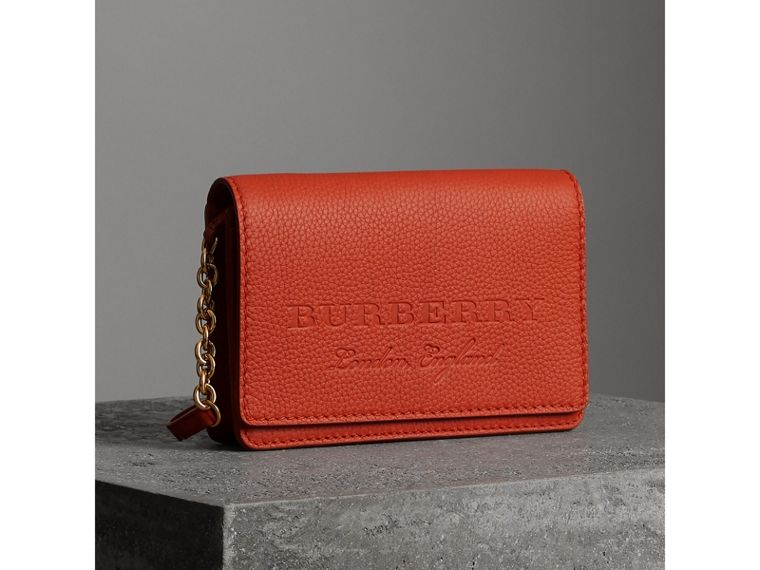 Embossed Leather Wallet with Detachable Strap in Dark Clementine - Women | Burberry - cell image 4