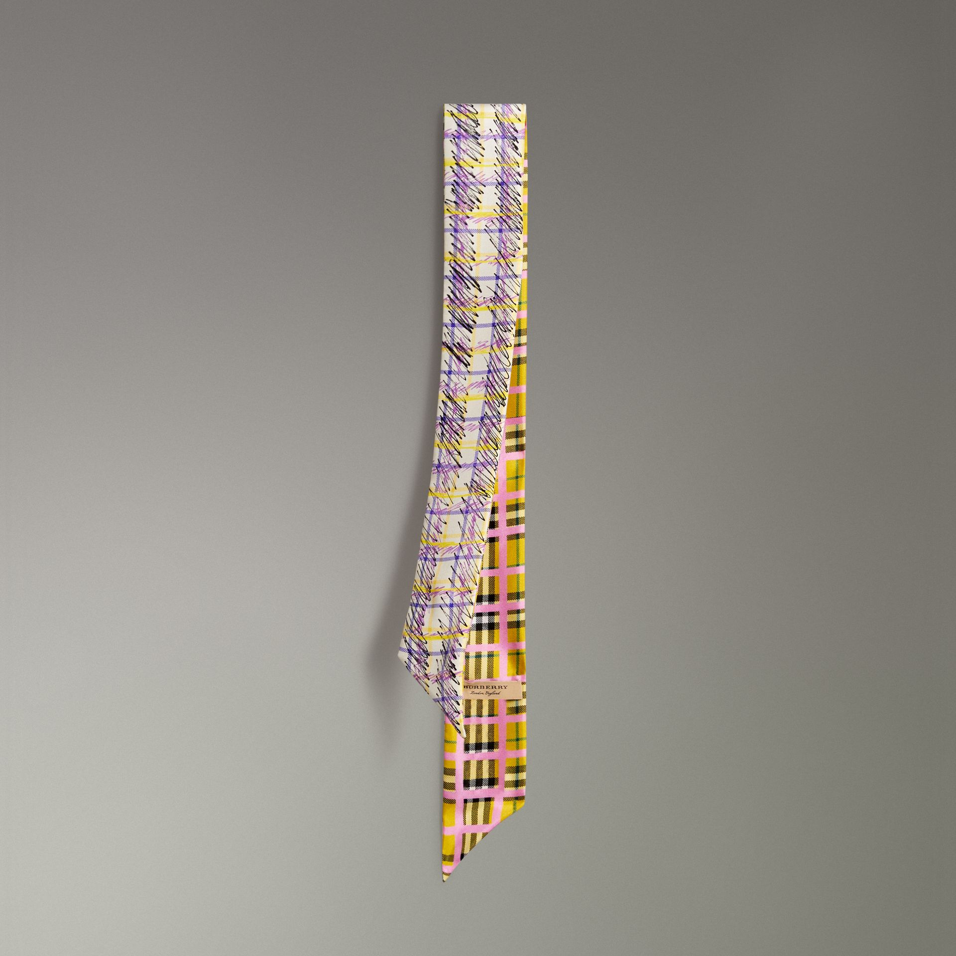 Scribble Check Silk Slim Scarf in Bright Yellow - Women | Burberry - gallery image 0