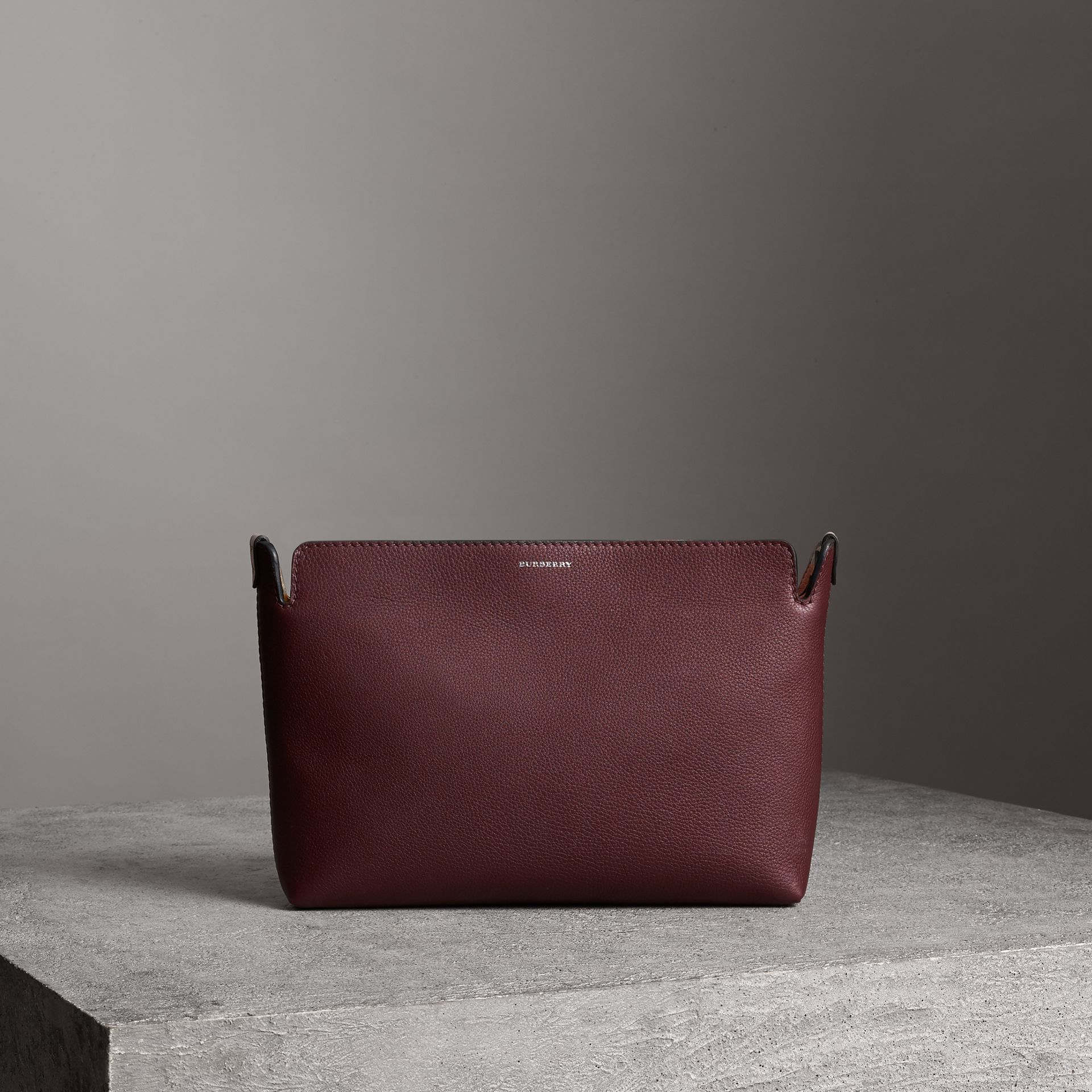 Medium Tri-tone Leather Clutch in Deep Claret/dusty Rose | Burberry - gallery image 0