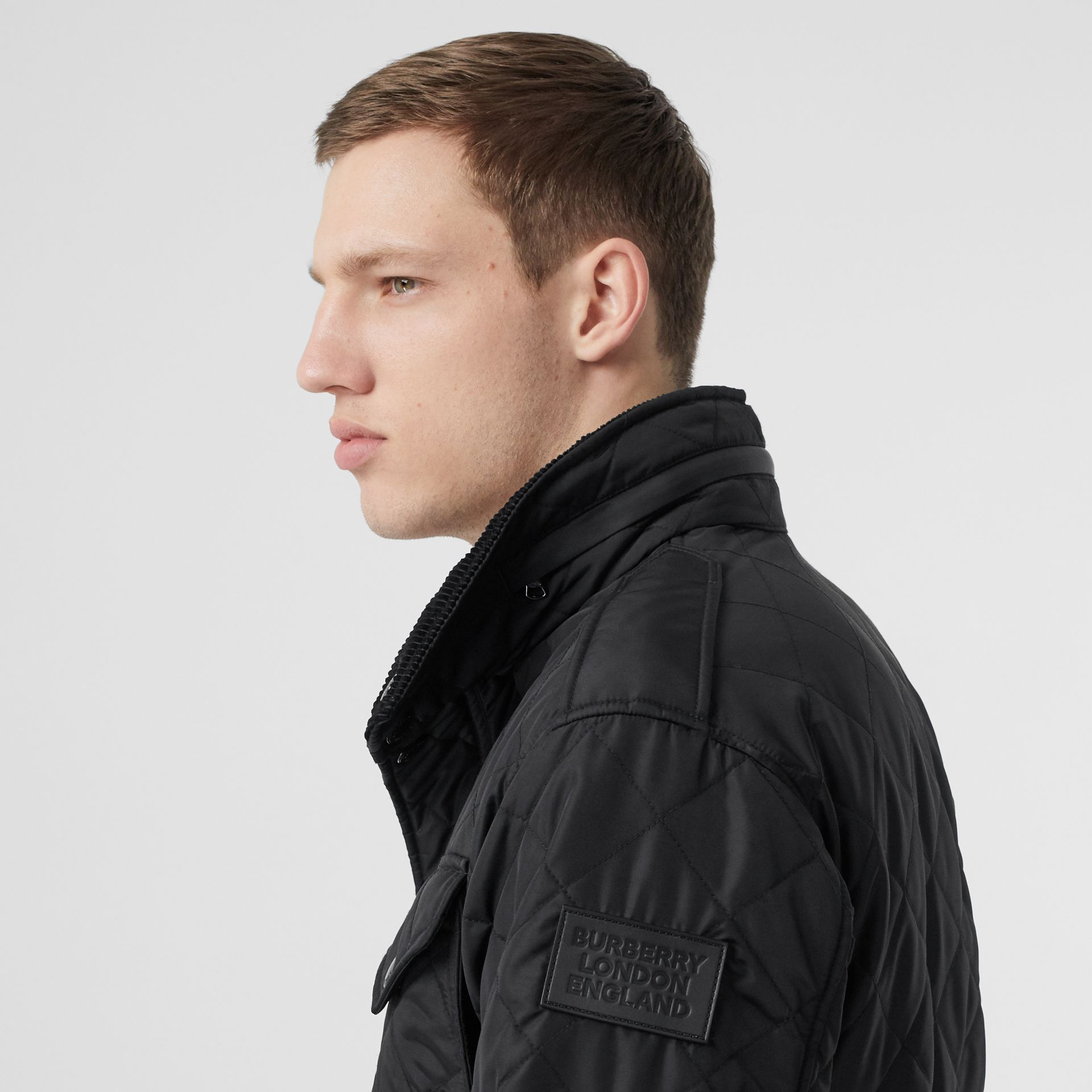 Packaway Hood Quilted Thermoregulated Field Jacket in Black - Men | Burberry Australia - gallery image 1