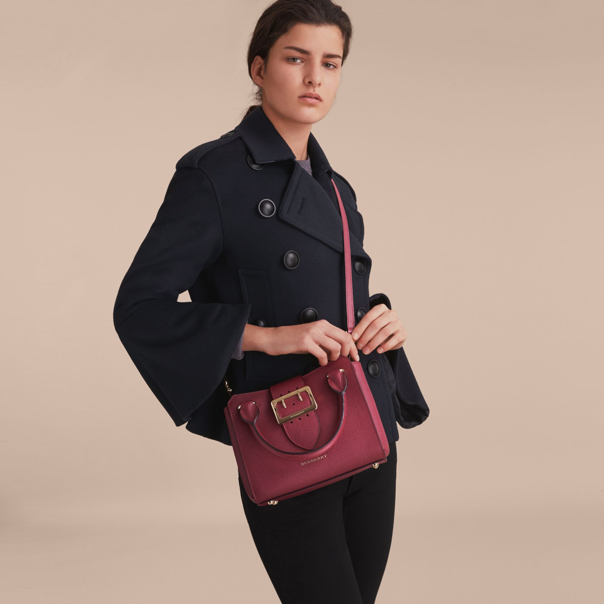 The Small Buckle Tote in Grainy Leather in Dark Plum - Women | Burberry United Kingdom - gallery image 3