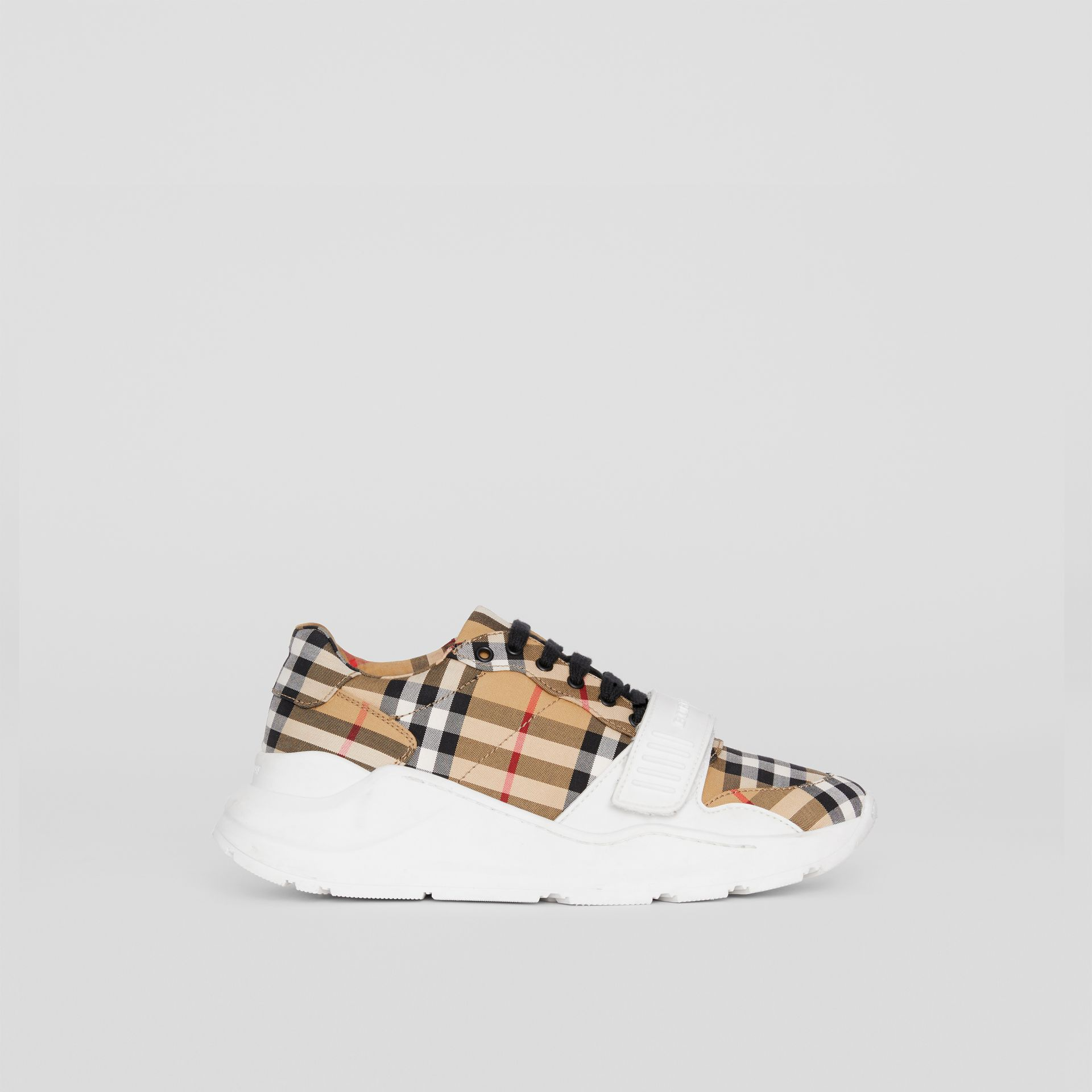 Vintage Check Cotton Sneakers in Antique Yellow - Women | Burberry Australia - gallery image 4