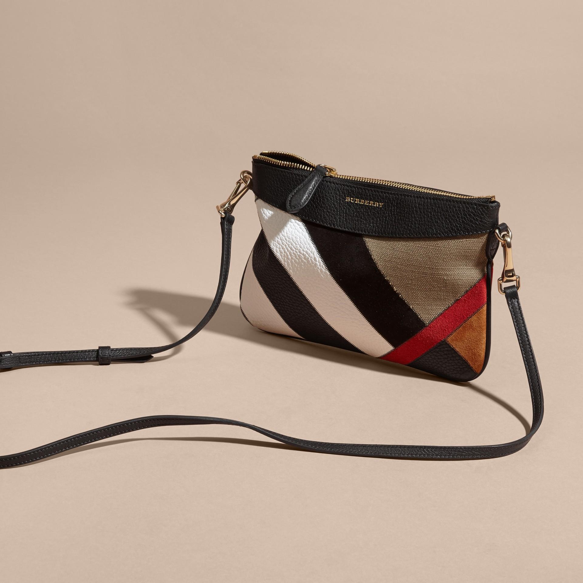 Noir Clutch façon patchwork en cuir, cuir velours et jute de coton à motif check - photo de la galerie 8