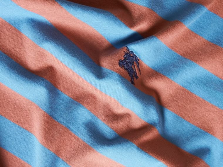 Striped Cotton T-Shirt Rose Pink/chalk Blue - cell image 1