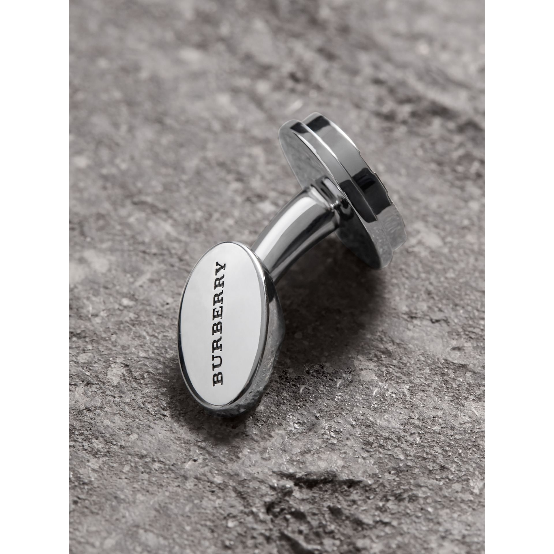 Check-engraved Round Cufflinks in Silver - Men | Burberry - gallery image 1
