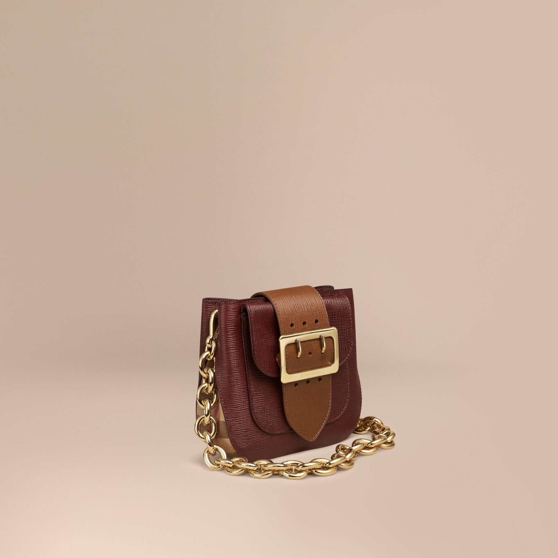 Burgundy The Small Square Buckle Bag in Leather and House Check Burgundy - gallery image 1