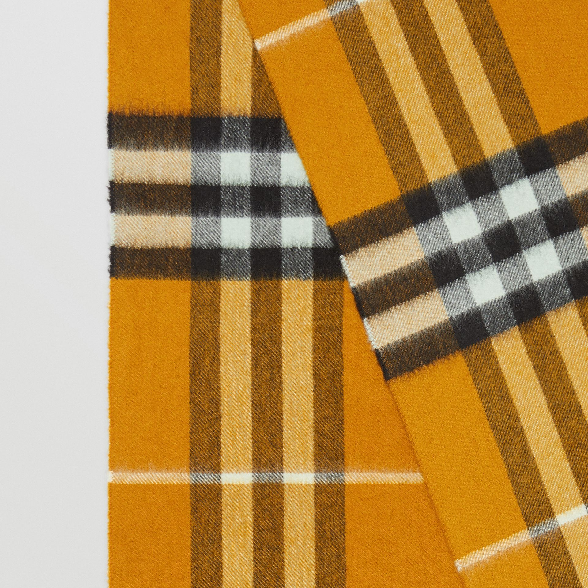 The Classic Check Cashmere Scarf in Umber Yellow | Burberry - gallery image 1