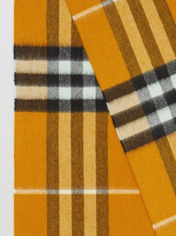 The Classic Cashmere Scarf in Check in Umber Yellow | Burberry - cell image 1