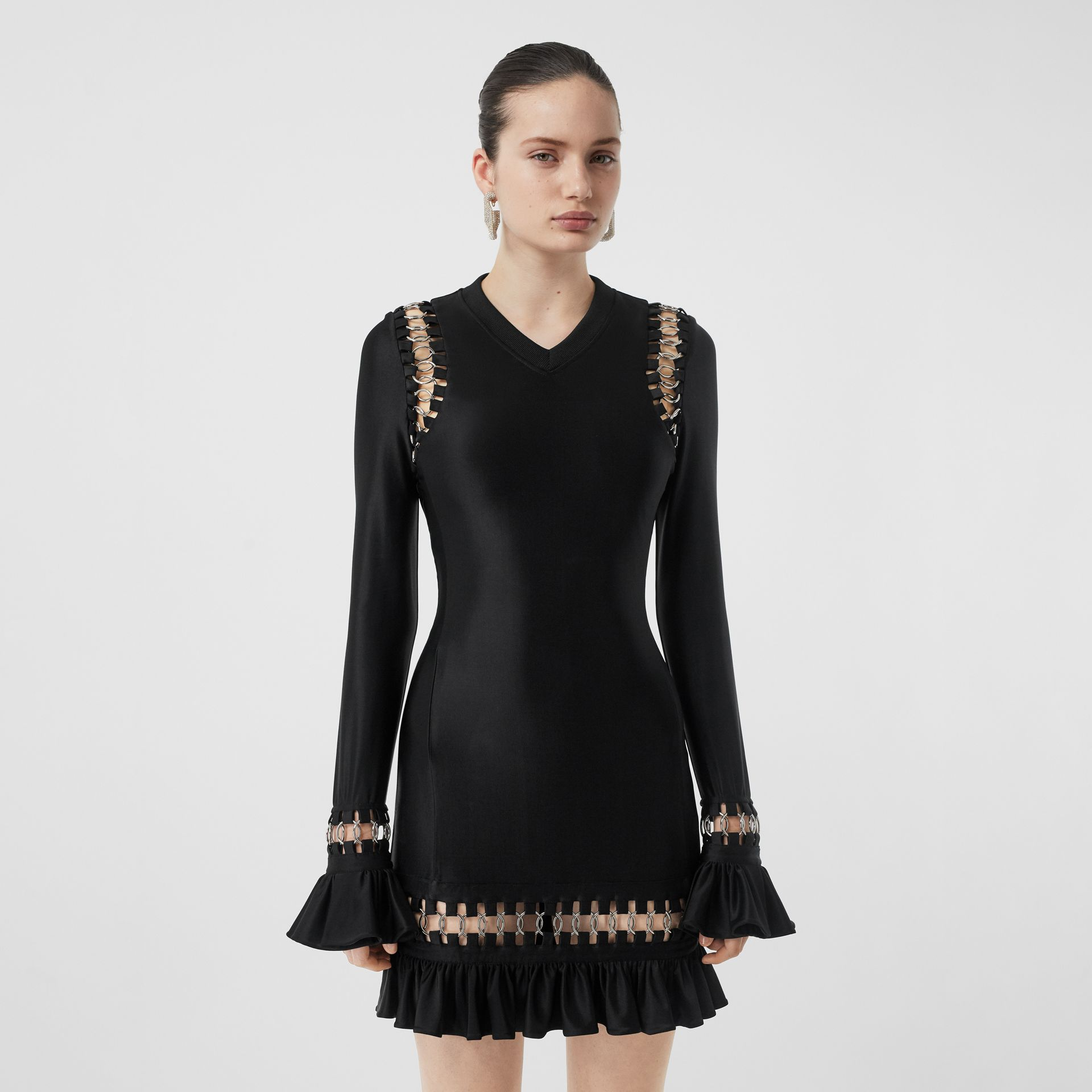 Ring-pierced Stretch Jersey Mini Dress in Black - Women | Burberry - gallery image 5