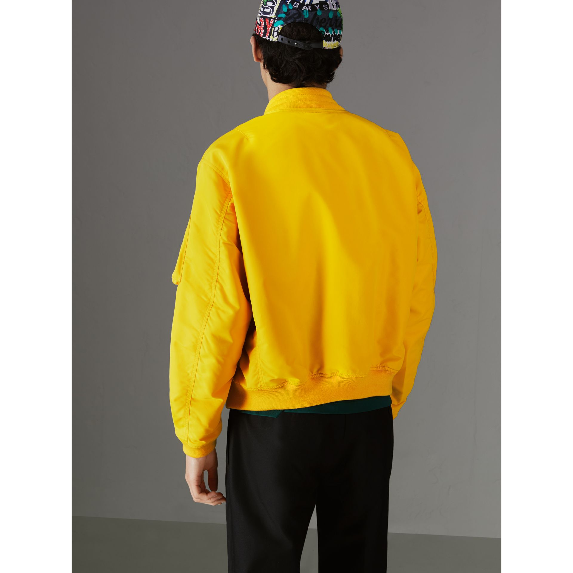 Nylon Bomber Jacket in Bright Yellow - Men | Burberry United States - gallery image 2