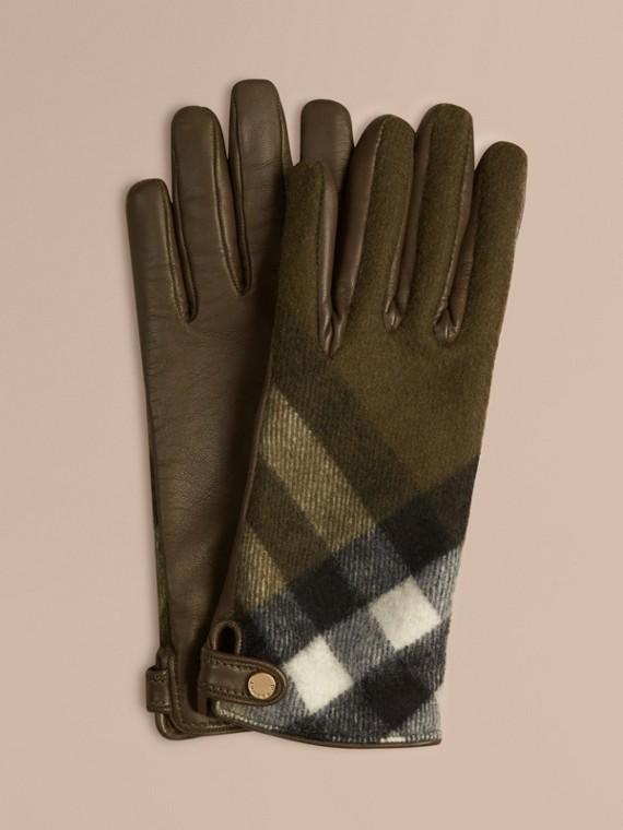 Handschuhe aus Leder und Kaschmir mit Check-Muster