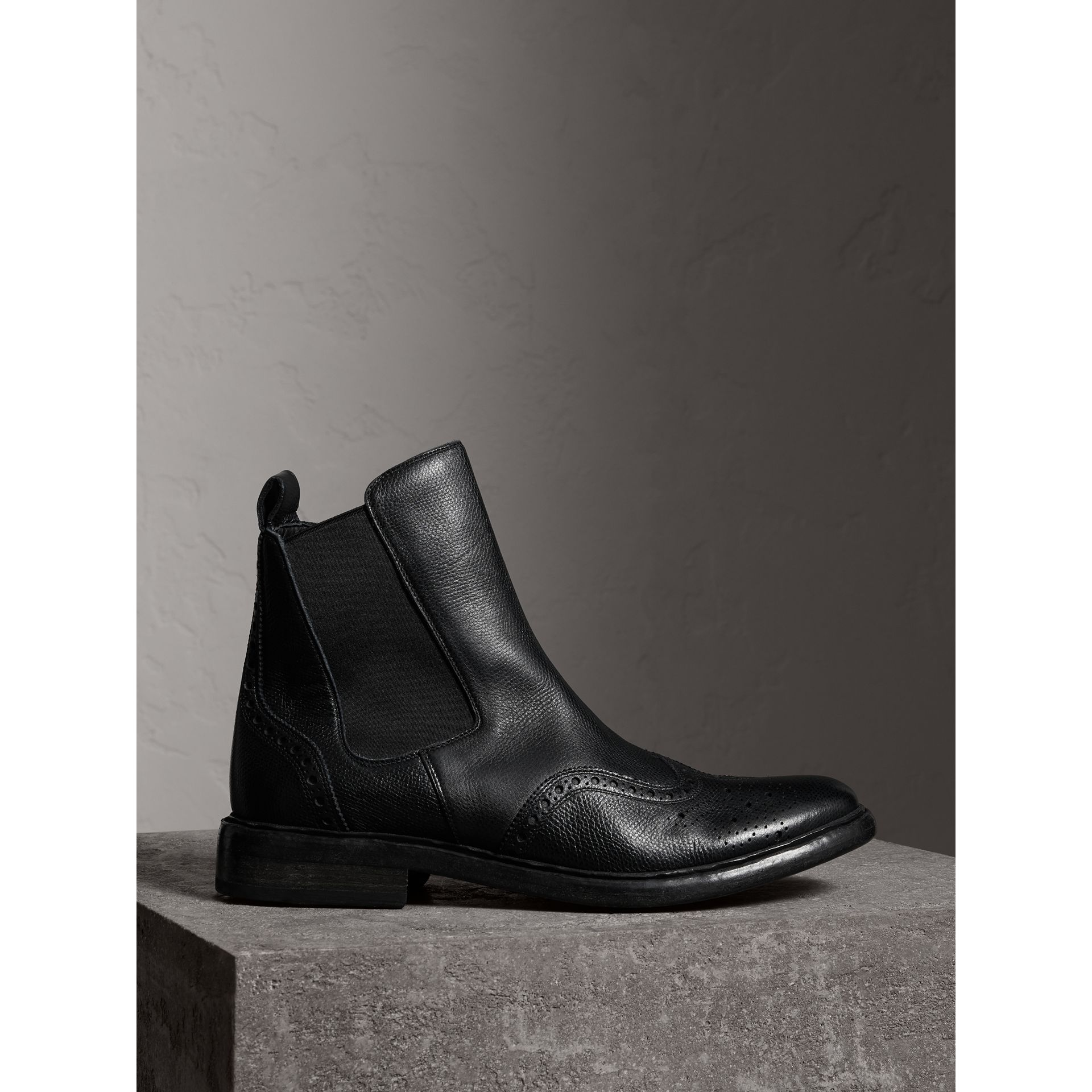Brogue Detail Polished Leather Chelsea Boots in Black - Men | Burberry Australia - gallery image 0