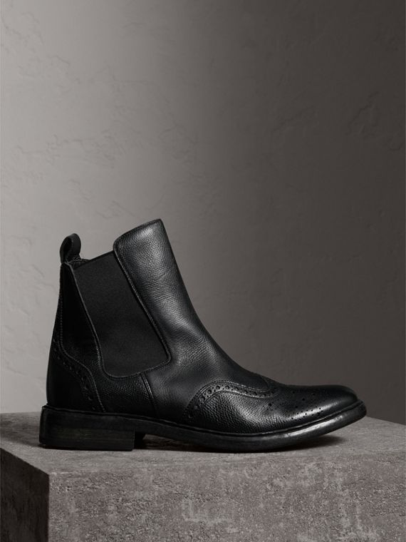 Brogue Detail Polished Leather Chelsea Boots in Black