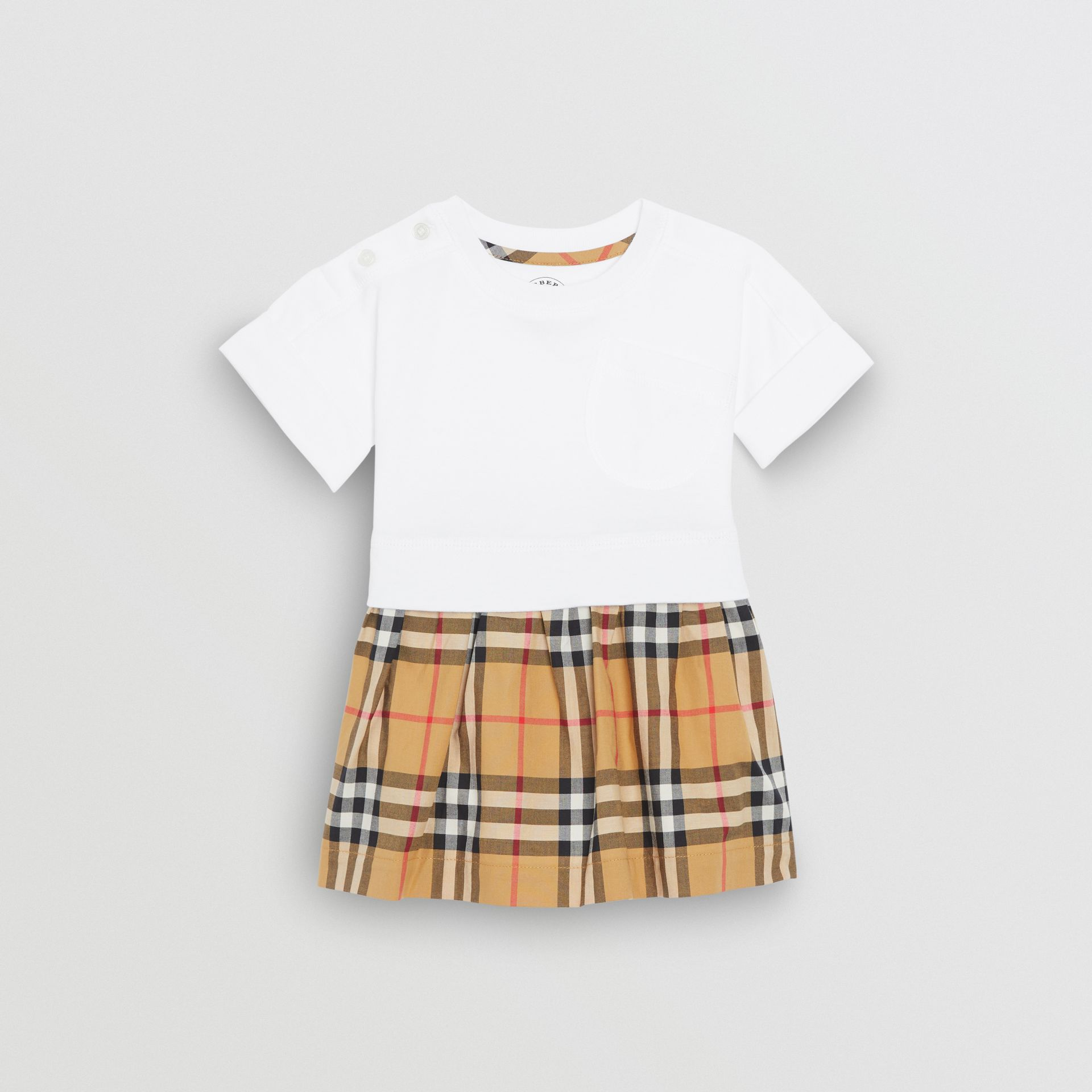 Vintage Check Cotton Dress with Bloomers in White - Children | Burberry Hong Kong - gallery image 0