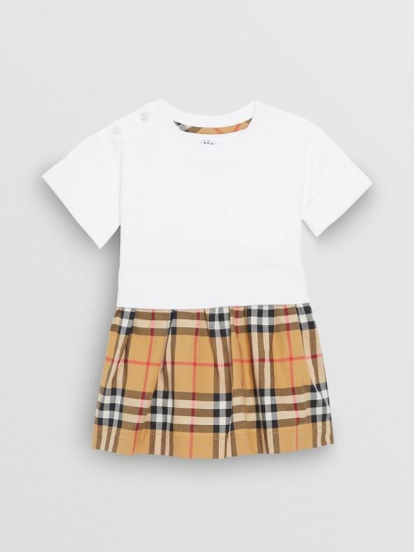 Vestido de algodão em Vintage Check com calcinha (Branco)