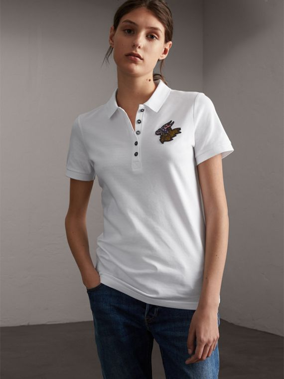 Beasts Motif Stretch Cotton Piqué Polo Shirt in White - Women | Burberry Australia