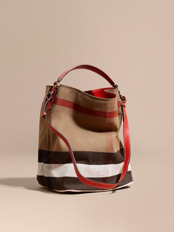 The Medium Ashby in Canvas Check and Leather Cadmium Red